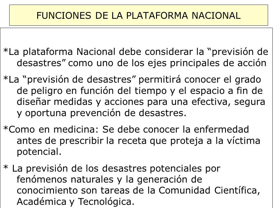 FUNCIONES DE LA PLATAFORMA NACIONAL *La plataforma Nacional debe considerar la previsión de....desastres como uno de los ejes principales de acción *L