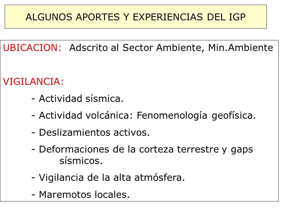 ALGUNOS APORTES Y EXPERIENCIAS DEL IGP UBICACION: Adscrito al Sector Ambiente, Min.Ambiente VIGILANCIA: - Actividad sísmica. - Actividad volcánica: Fe