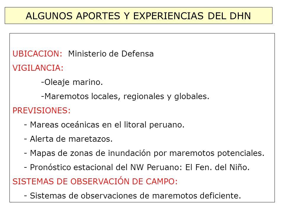 ALGUNOS APORTES Y EXPERIENCIAS DEL DHN UBICACION: Ministerio de Defensa VIGILANCIA: -Oleaje marino. -Maremotos locales, regionales y globales. PREVISI