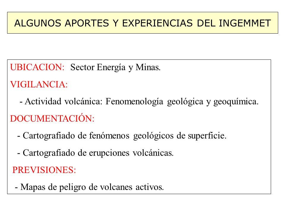 ALGUNOS APORTES Y EXPERIENCIAS DEL INGEMMET UBICACION: Sector Energía y Minas. VIGILANCIA: - Actividad volcánica: Fenomenología geológica y geoquímica