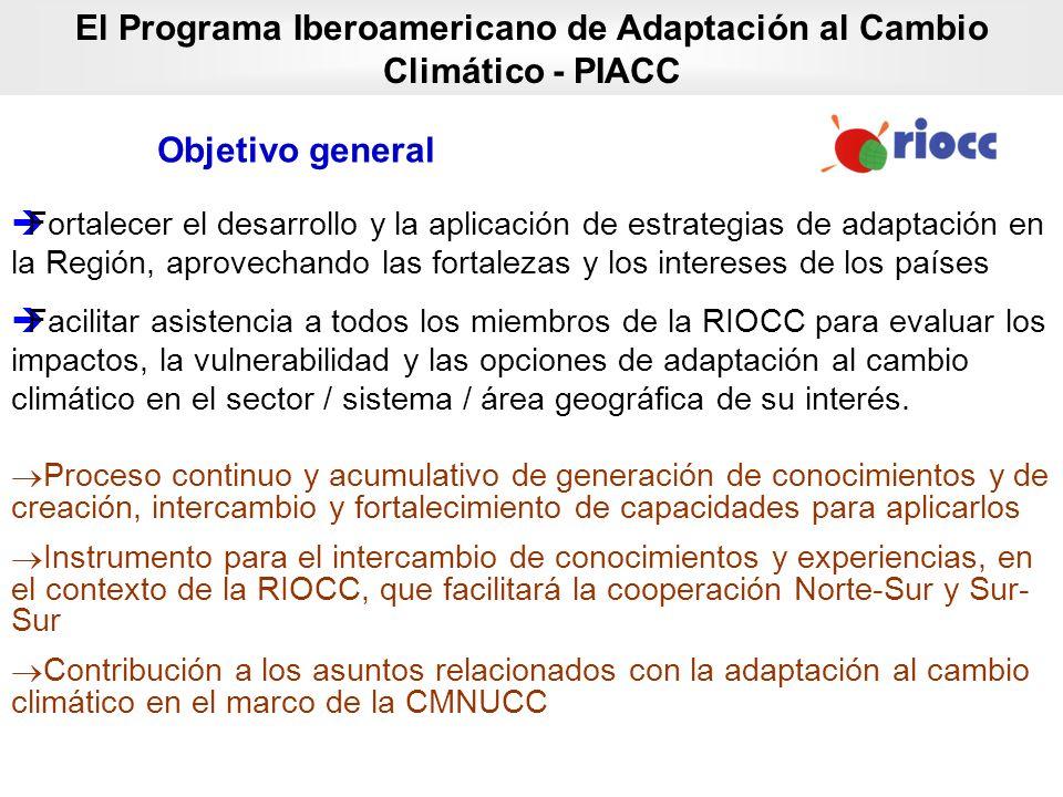 Objetivo general El Programa Iberoamericano de Adaptación al Cambio Climático - PIACC Fortalecer el desarrollo y la aplicación de estrategias de adapt