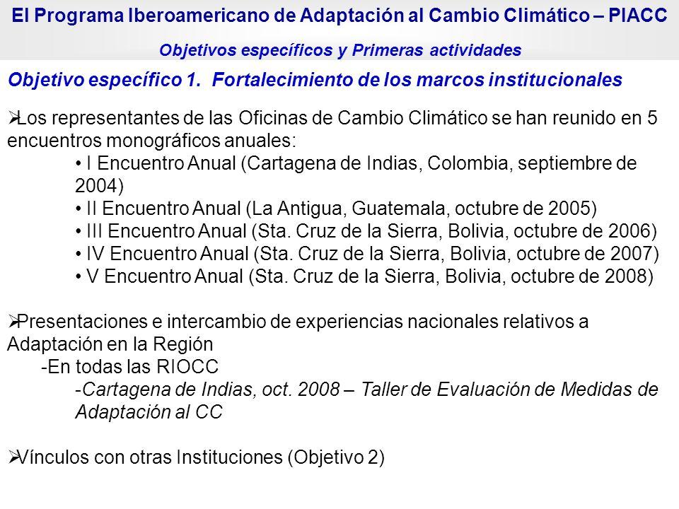 Objetivo específico 1. Fortalecimiento de los marcos institucionales Los representantes de las Oficinas de Cambio Climático se han reunido en 5 encuen