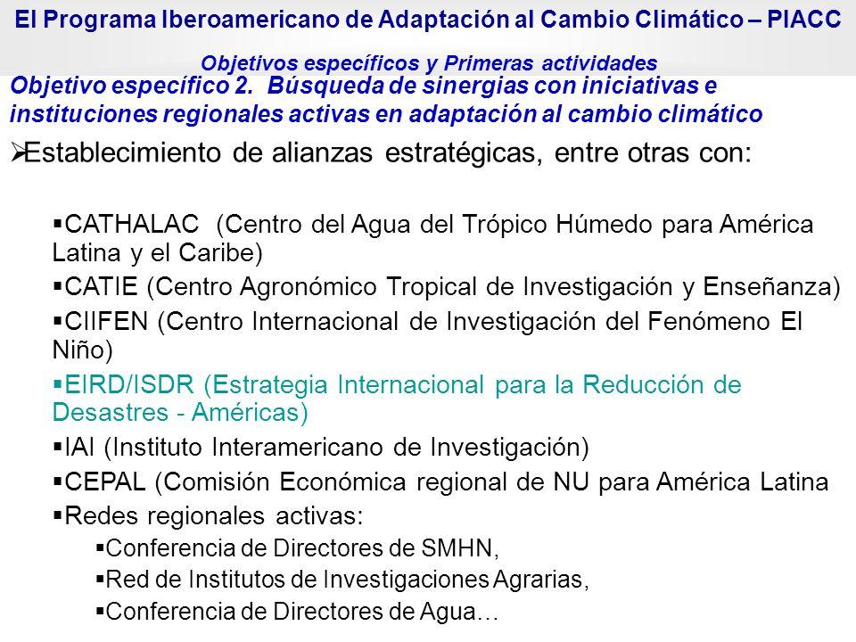 Objetivo específico 2. Búsqueda de sinergias con iniciativas e instituciones regionales activas en adaptación al cambio climático Establecimiento de a