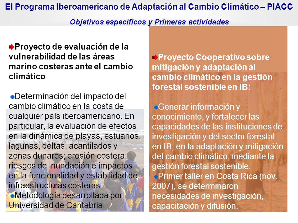 Proyecto de evaluación de la vulnerabilidad de las áreas marino costeras ante el cambio climático: Determinación del impacto del cambio climático en l