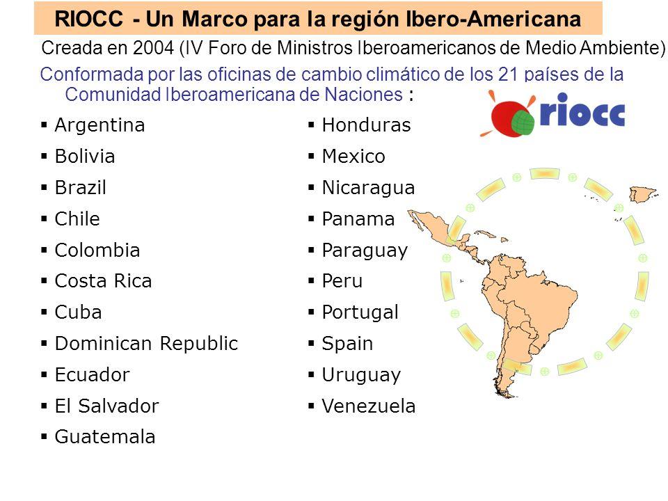RIOCC - Un Marco para la región Ibero-Americana Conformada por las oficinas de cambio climático de los 21 países de la Comunidad Iberoamericana de Nac