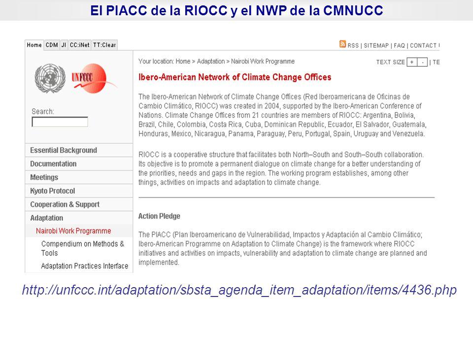El PIACC de la RIOCC y el NWP de la CMNUCC http://unfccc.int/adaptation/sbsta_agenda_item_adaptation/items/4436.php