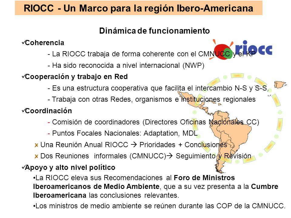 RIOCC - Un Marco para la región Ibero-Americana Dinámica de funcionamiento Coherencia - La RIOCC trabaja de forma coherente con el CMNUCC y el KP - Ha