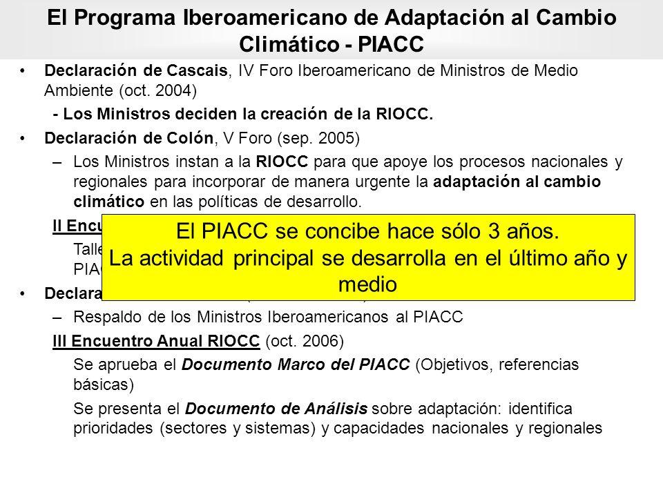Declaración de Cascais, IV Foro Iberoamericano de Ministros de Medio Ambiente (oct. 2004) - Los Ministros deciden la creación de la RIOCC. Declaración