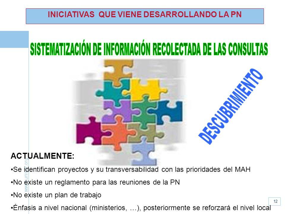 www.unisdr.org 12 INICIATIVAS QUE VIENE DESARROLLANDO LA PN ACTUALMENTE: Se identifican proyectos y su transversabilidad con las prioridades del MAH N
