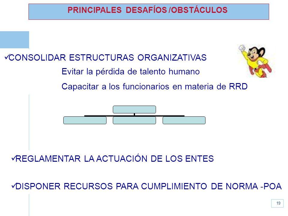 www.unisdr.org 19 PRINCIPALES DESAFÍOS /OBSTÁCULOS CONSOLIDAR ESTRUCTURAS ORGANIZATIVAS Evitar la pérdida de talento humano Capacitar a los funcionari