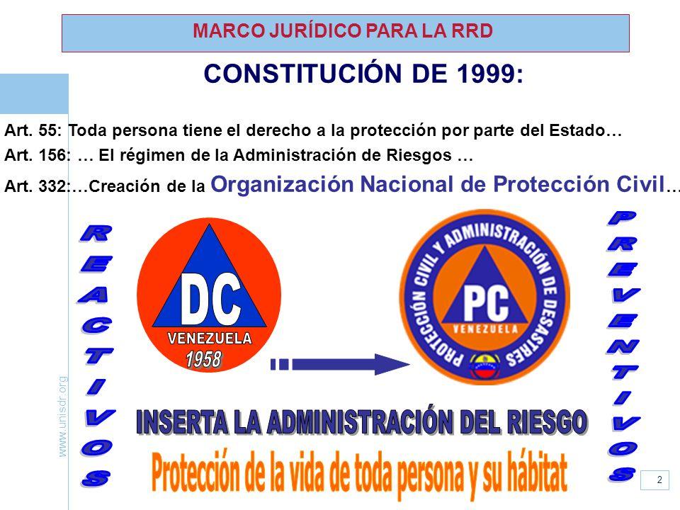 www.unisdr.org 2 MARCO JURÍDICO PARA LA RRD CONSTITUCIÓN DE 1999: Art. 55: Toda persona tiene el derecho a la protección por parte del Estado… Art. 15