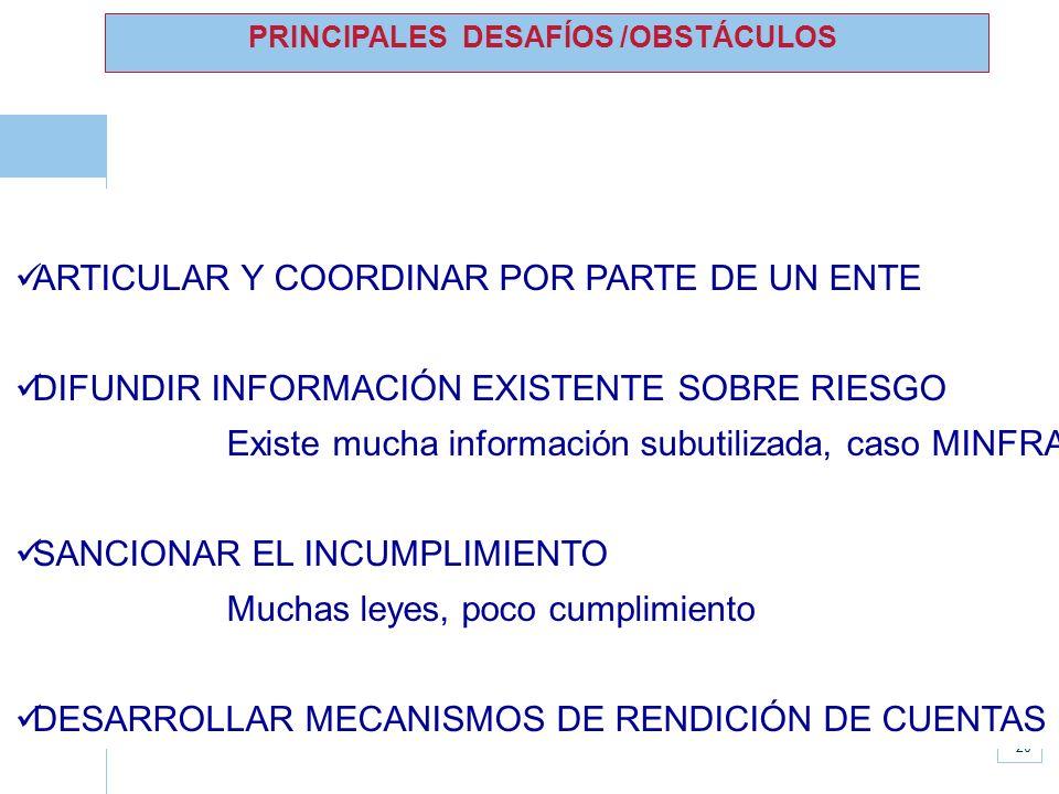 www.unisdr.org 20 PRINCIPALES DESAFÍOS /OBSTÁCULOS ARTICULAR Y COORDINAR POR PARTE DE UN ENTE DIFUNDIR INFORMACIÓN EXISTENTE SOBRE RIESGO Existe mucha