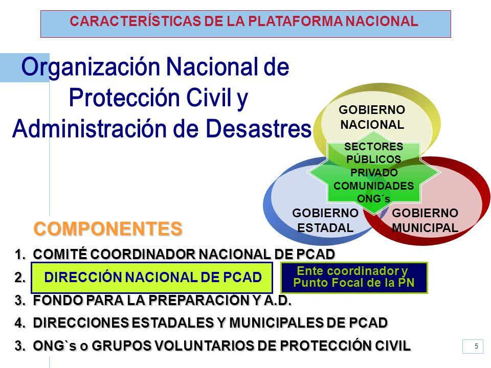 www.unisdr.org 5 COMPONENTES 1.COMITÉ COORDINADOR NACIONAL DE PCAD 2. DIRECCIÓN NACIONAL DE PCAD 3.FONDO PARA LA PREPARACIÓN Y A.D. 4.DIRECCIONES ESTA