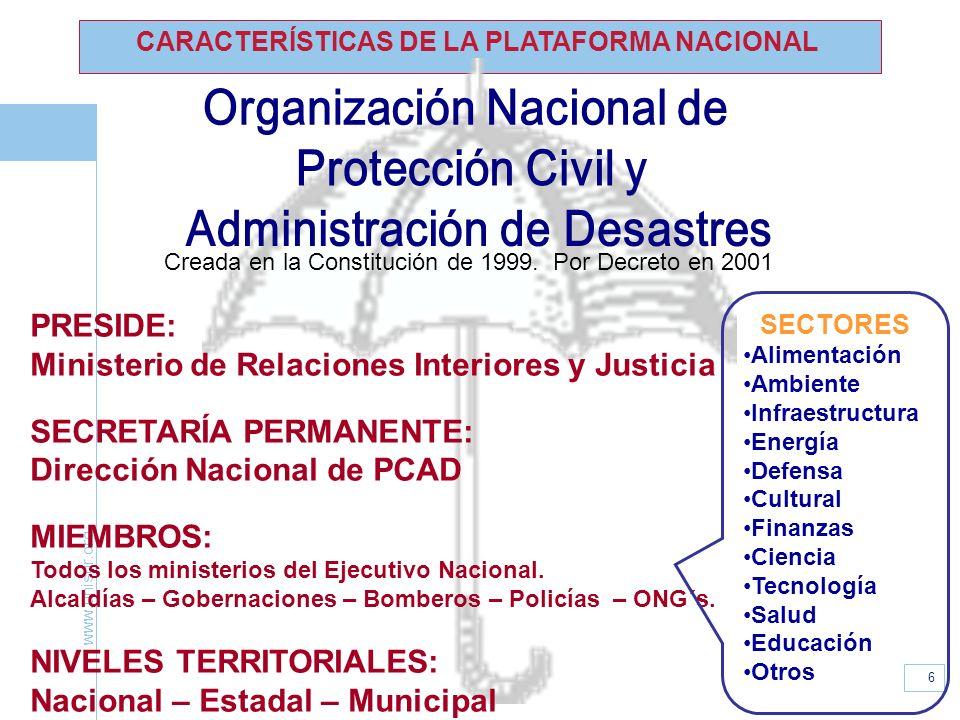 www.unisdr.org 6 CARACTERÍSTICAS DE LA PLATAFORMA NACIONAL PRESIDE: Ministerio de Relaciones Interiores y Justicia SECRETARÍA PERMANENTE: Dirección Na
