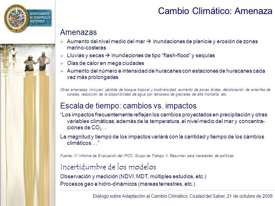 Diálogo sobre Adaptación al Cambio Climático, Ciudad del Saber, 21 de octubre de 2008 Cambio Climático: Amenaza (Cont …) Serie de Tiempo: Total de Ciclones Tropicales del Atlántico Norte (azul) y Temperatura de la superficie del mar (rojo).
