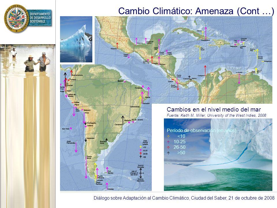 Diálogo sobre Adaptación al Cambio Climático, Ciudad del Saber, 21 de octubre de 2008 Cambio Climático: Amenaza (Cont …) Cambios en el nivel medio del mar Fuente: Keith M.
