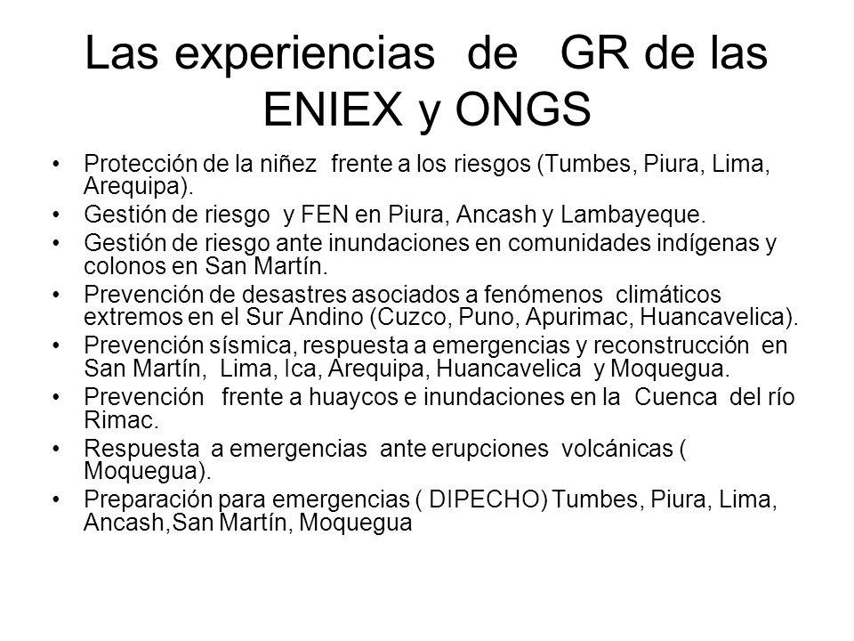 Las experiencias de GR de las ENIEX y ONGS Protección de la niñez frente a los riesgos (Tumbes, Piura, Lima, Arequipa).