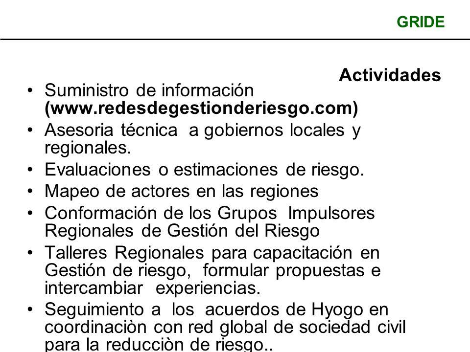 GRIDE Actividades Suministro de información (www.redesdegestionderiesgo.com) Asesoria técnica a gobiernos locales y regionales.