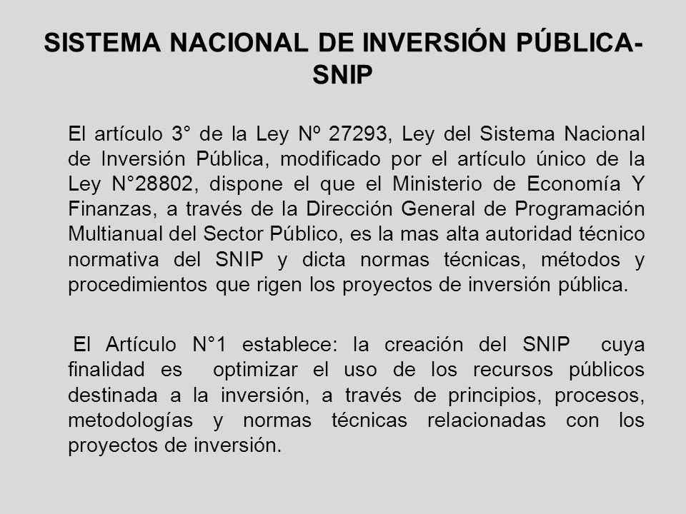 SISTEMA NACIONAL DE INVERSIÓN PÚBLICA- SNIP El artículo 3° de la Ley Nº 27293, Ley del Sistema Nacional de Inversión Pública, modificado por el artícu
