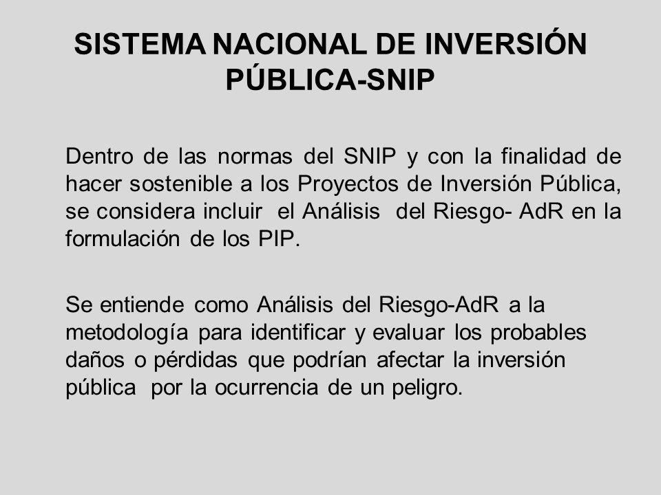 SISTEMA NACIONAL DE INVERSIÓN PÚBLICA-SNIP Dentro de las normas del SNIP y con la finalidad de hacer sostenible a los Proyectos de Inversión Pública,