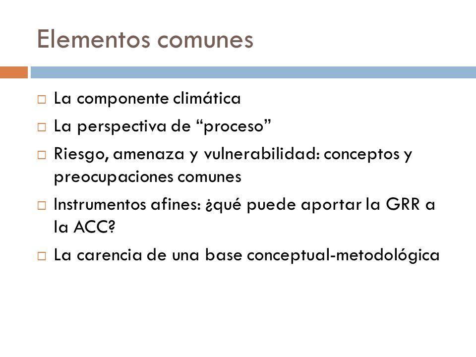 Elementos comunes La componente climática La perspectiva de proceso Riesgo, amenaza y vulnerabilidad: conceptos y preocupaciones comunes Instrumentos afines: ¿qué puede aportar la GRR a la ACC.