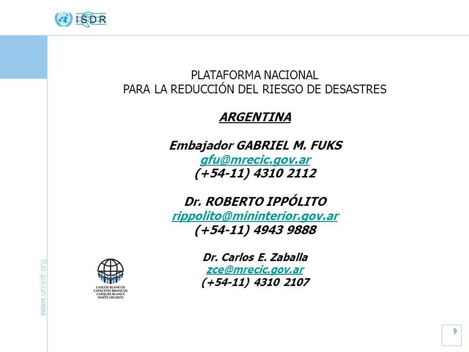 www.unisdr.org 9 PLATAFORMA NACIONAL PARA LA REDUCCIÓN DEL RIESGO DE DESASTRES ARGENTINA Embajador GABRIEL M.