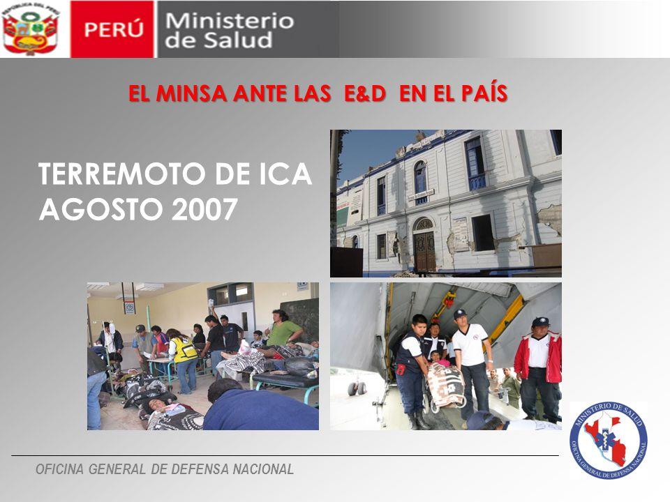 OFICINA GENERAL DE DEFENSA NACIONAL TERREMOTO DE ICA AGOSTO 2007 EL MINSA ANTE LAS E&D EN EL PAÍS