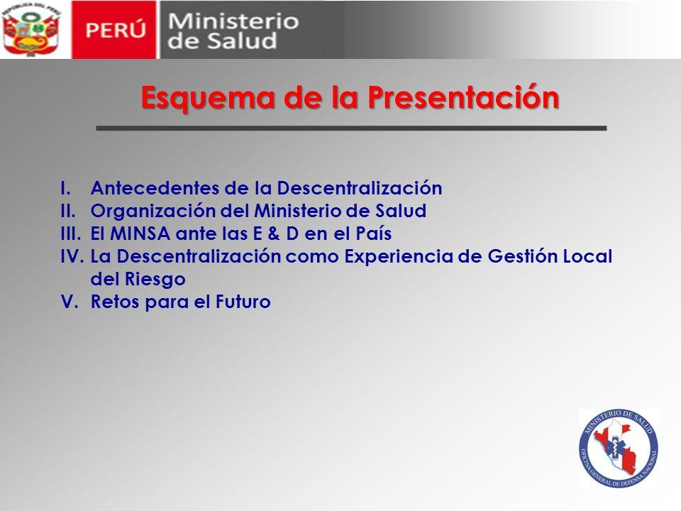 Esquema de la Presentación I.Antecedentes de la Descentralización II.Organización del Ministerio de Salud III.El MINSA ante las E & D en el País IV.La