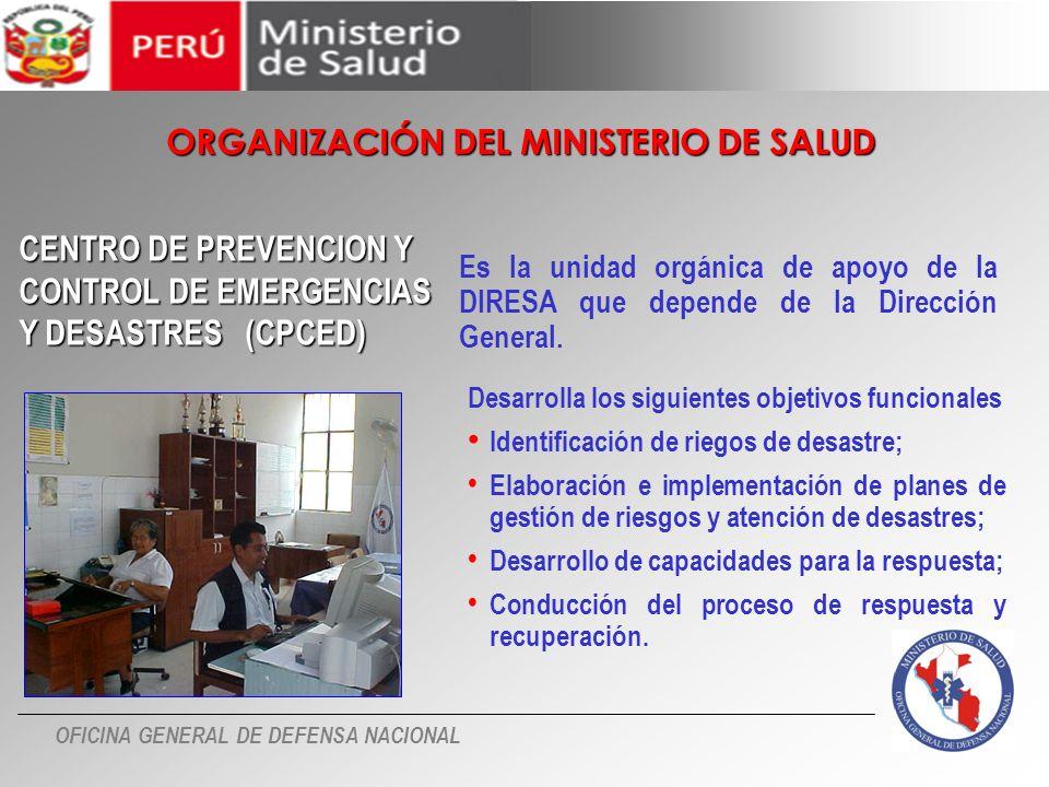 OFICINA GENERAL DE DEFENSA NACIONAL Es la unidad orgánica de apoyo de la DIRESA que depende de la Dirección General. CENTRO DE PREVENCION Y CONTROL DE