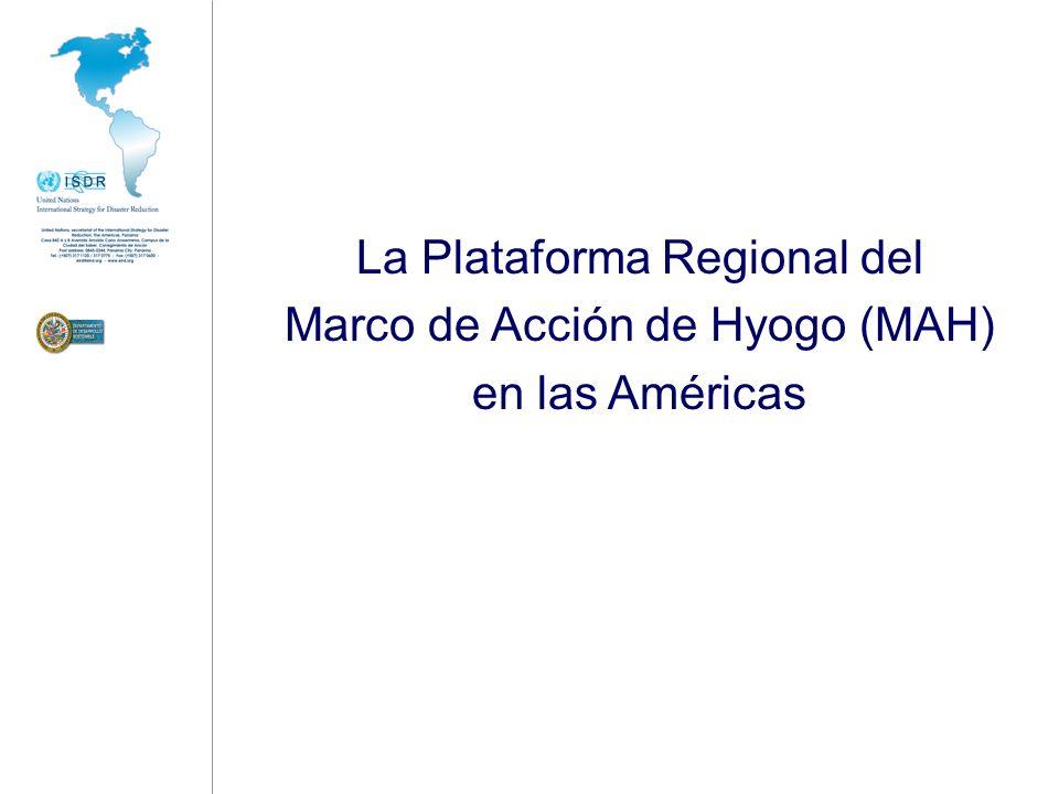 La Plataforma Regional en las Américas Principal mecanismo hemisférico para orientar la implementación del MAH … Construyendo un puente entre las Plataformas Nacionales y la Plataforma Global.