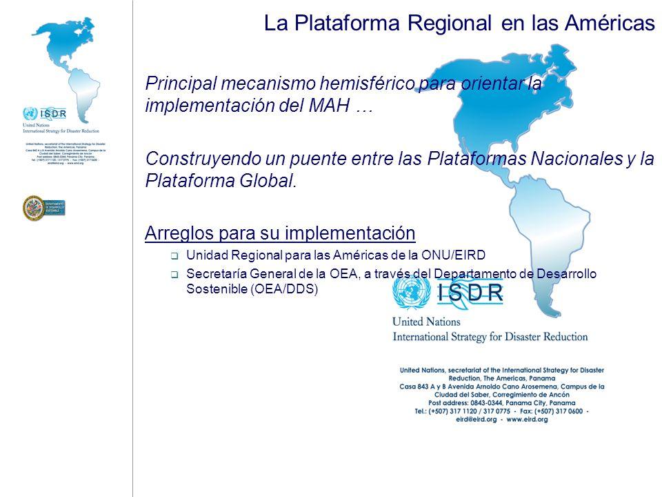 La Plataforma Regional en las Américas Principales líneas de acción Promover la GRD como parte integral del desarrollo sostenible, en el contexto de Cambio Climático; Promover la cooperación y una acción articulada por parte de la comunidad internacional [para apoyar la implementación de la GRD a nivel local y nacional]; Identificar prioridades para el Sistema ONU/EIRD para 2008-2009; Hacer disponibles [a naciones y comunidades de las Américas] guías prácticas para la reducción de desastres; Promover la consolidación de la Plataforma Regional en las Américas, a través de un plan de acción y compromisos políticos; Evaluar el avance en la implementación del MAH en las Américas, e identificar obstáculos, problemas críticos y emergentes que deban ser atendidos para acelerar su implementación a nivel local y nacional; y Promover el entendimiento del mecanismo de informes que actualmente la ONU/EIRD viene impulsando para el monitoreo y evaluación del MAH