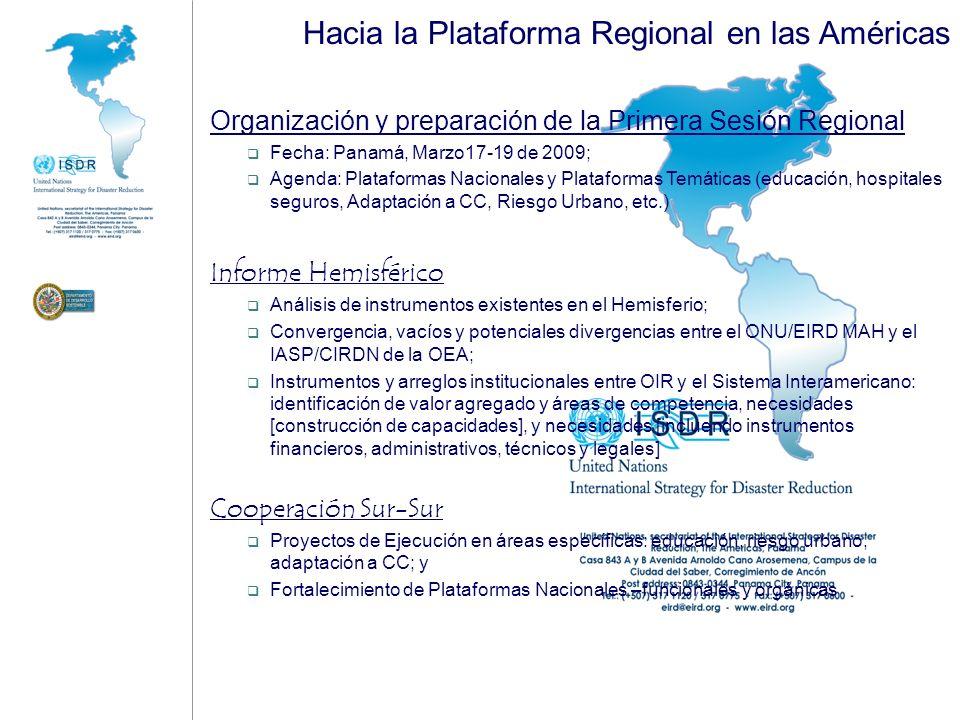 Hacia la Plataforma Regional en las Américas Organización y preparación de la Primera Sesión Regional Fecha: Panamá, Marzo17-19 de 2009; Agenda: Plata