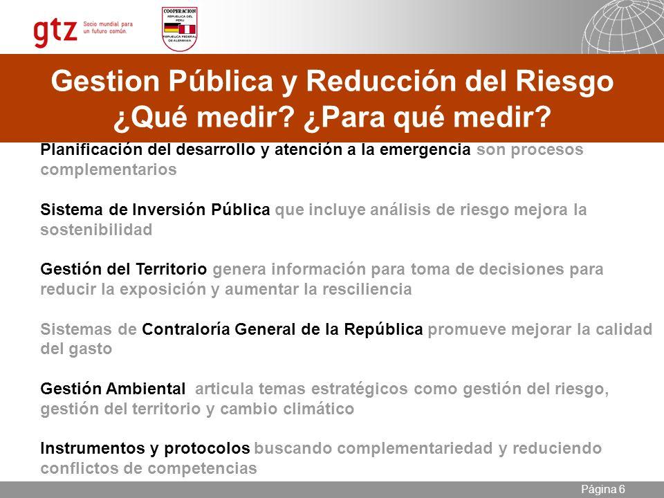 09.01.2014 Seite 6 Página 6 Gestion Pública y Reducción del Riesgo ¿Qué medir.