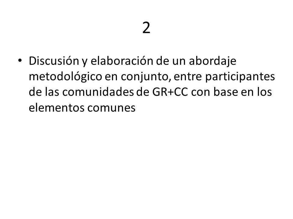 2 Discusión y elaboración de un abordaje metodológico en conjunto, entre participantes de las comunidades de GR+CC con base en los elementos comunes