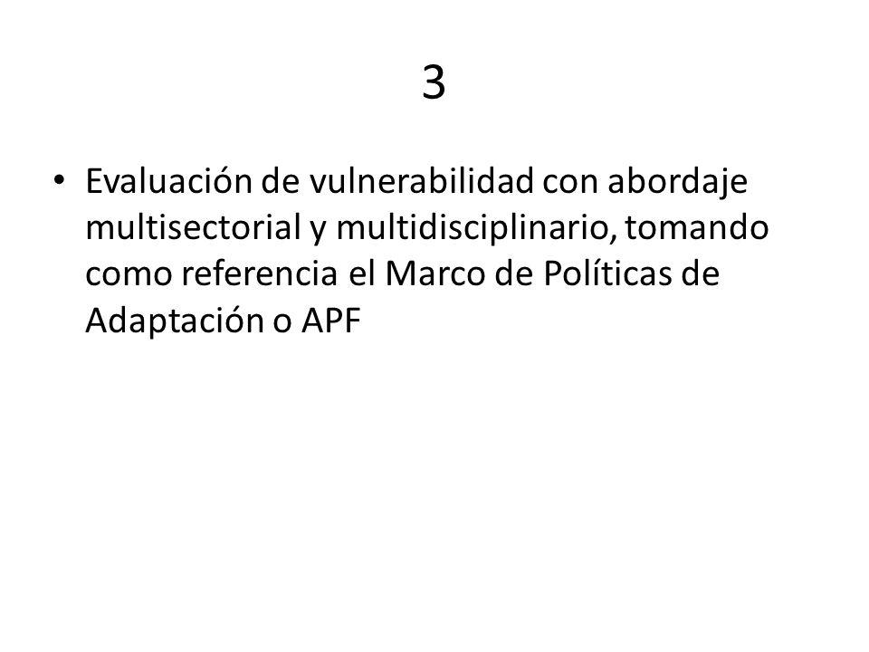 3 Evaluación de vulnerabilidad con abordaje multisectorial y multidisciplinario, tomando como referencia el Marco de Políticas de Adaptación o APF