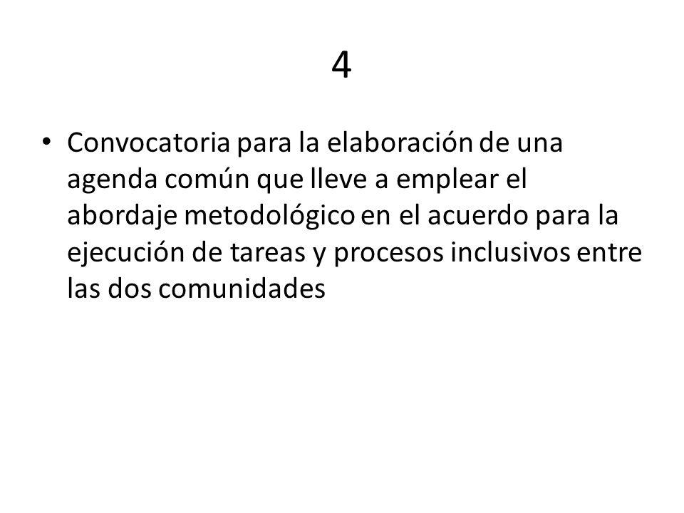 4 Convocatoria para la elaboración de una agenda común que lleve a emplear el abordaje metodológico en el acuerdo para la ejecución de tareas y proces