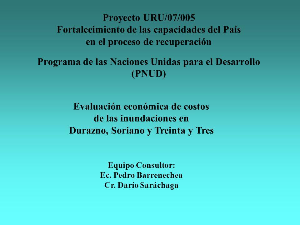 Proyecto URU/07/005 Fortalecimiento de las capacidades del País en el proceso de recuperación Programa de las Naciones Unidas para el Desarrollo (PNUD) Evaluación económica de costos de las inundaciones en Durazno, Soriano y Treinta y Tres Equipo Consultor: Ec.