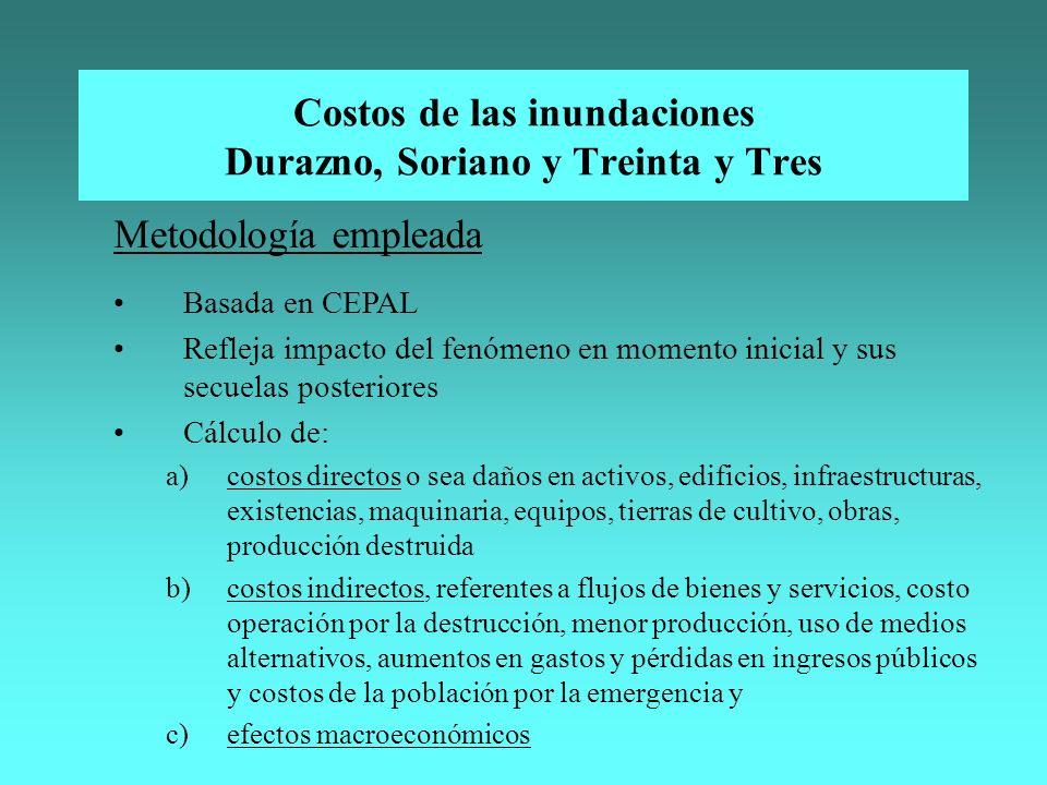 Costos de las inundaciones Durazno, Soriano y Treinta y Tres Metodología empleada Basada en CEPAL Refleja impacto del fenómeno en momento inicial y su