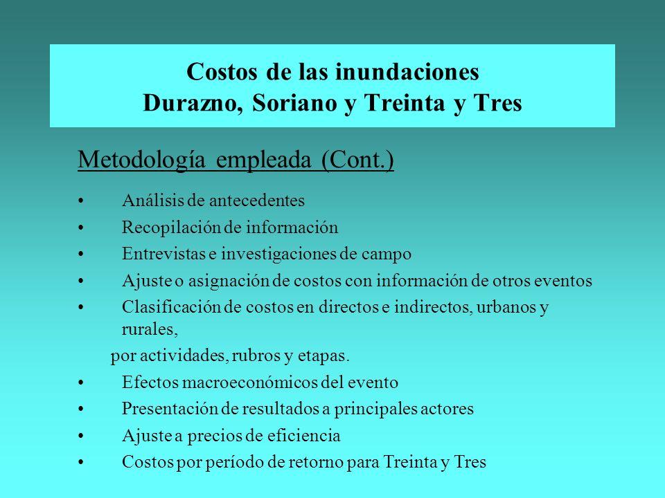 Costos de las inundaciones Durazno, Soriano y Treinta y Tres Metodología empleada (Cont.) Análisis de antecedentes Recopilación de información Entrevi
