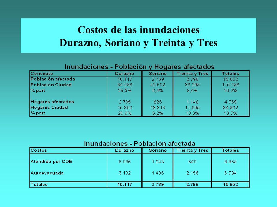 Costos de las inundaciones Durazno, Soriano y Treinta y Tres