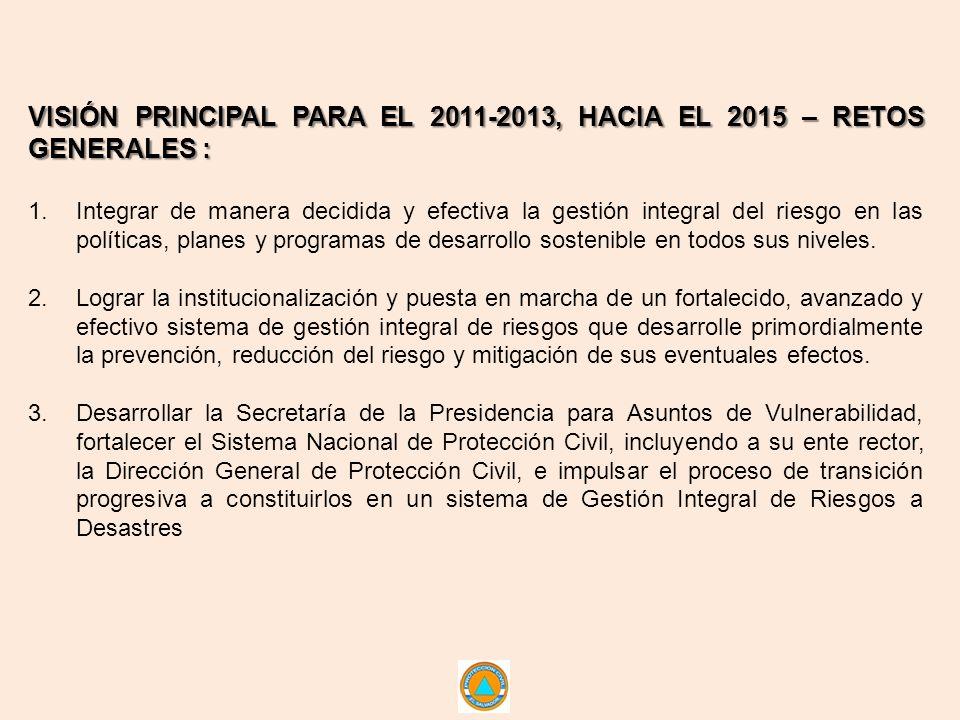 VISIÓN PRINCIPAL PARA EL 2011-2013, HACIA EL 2015 – RETOS GENERALES : 1.Integrar de manera decidida y efectiva la gestión integral del riesgo en las políticas, planes y programas de desarrollo sostenible en todos sus niveles.