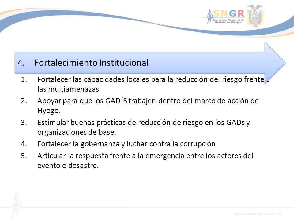1.Fortalecer las capacidades locales para la reducción del riesgo frente a las multiamenazas 2.Apoyar para que los GAD´S trabajen dentro del marco de