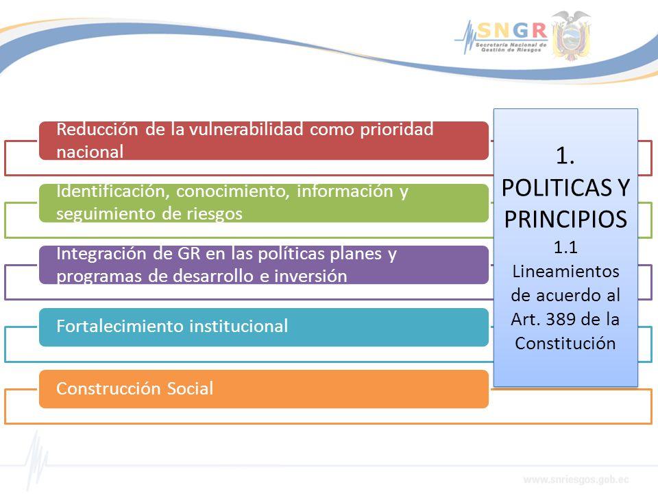 Reducción de la vulnerabilidad como prioridad nacional Identificación, conocimiento, información y seguimiento de riesgos Integración de GR en las pol