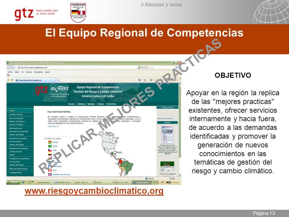 09.01.2014 Seite 13 Página 13 El Equipo Regional de Competencias www.riesgoycambioclimatico.org OBJETIVO Apoyar en la región la replica de las