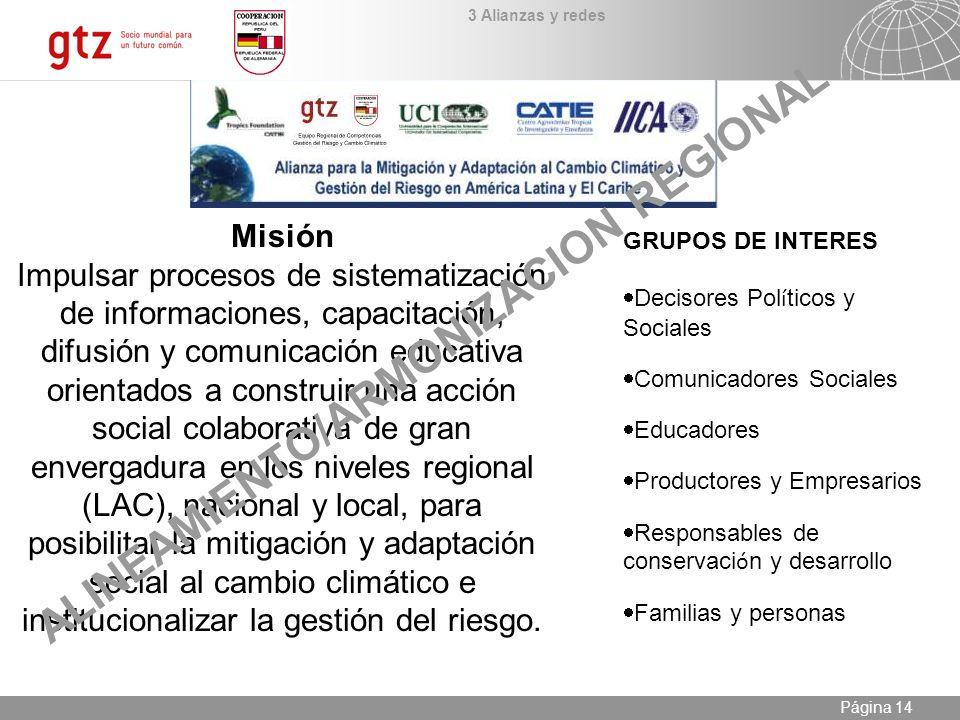 09.01.2014 Seite 14 Página 14 Misión Impulsar procesos de sistematización de informaciones, capacitación, difusión y comunicación educativa orientados