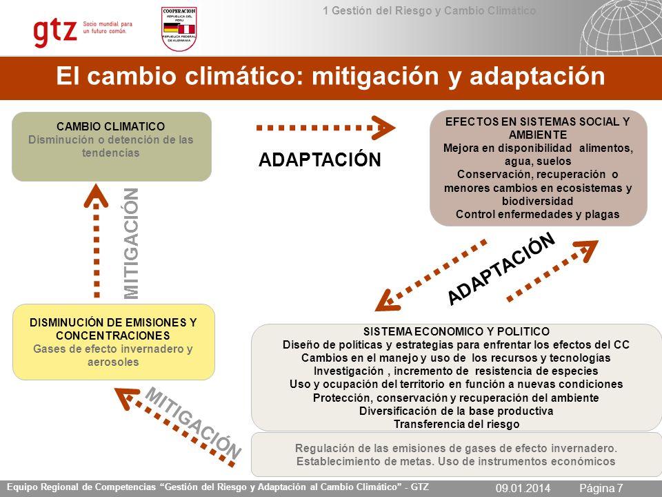 09.01.2014 Seite 7 Página 709.01.2014 Equipo Regional de Competencias Gestión del Riesgo y Adaptación al Cambio Climático - GTZ CAMBIO CLIMATICO Dismi