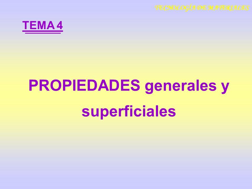 PROPIEDADES generales y superficiales TEMA 4 TECNOLOGÍA DE MATERIALES
