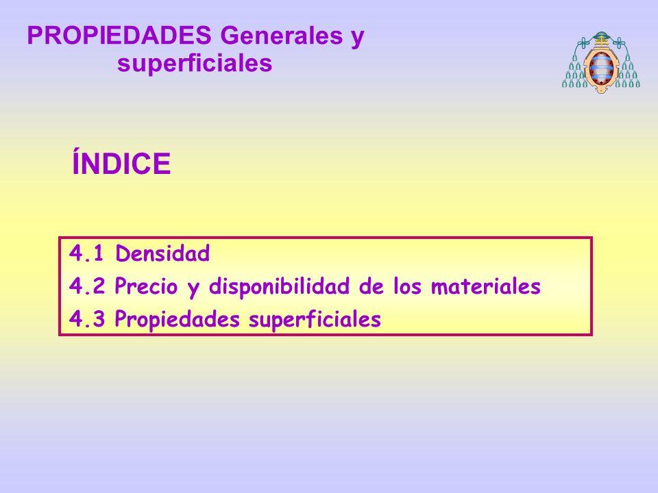 4.1 Densidad 4.2 Precio y disponibilidad de los materiales 4.3 Propiedades superficiales ÍNDICE PROPIEDADES Generales y superficiales