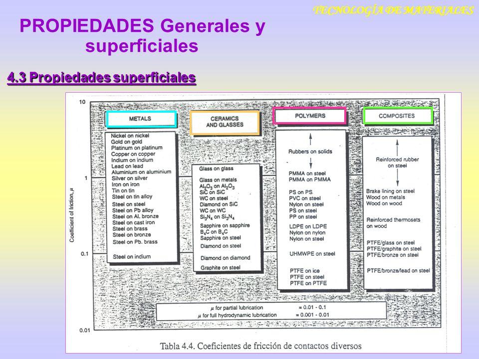 TECNOLOGÍA DE MATERIALES 4.3 Propiedades superficiales PROPIEDADES Generales y superficiales