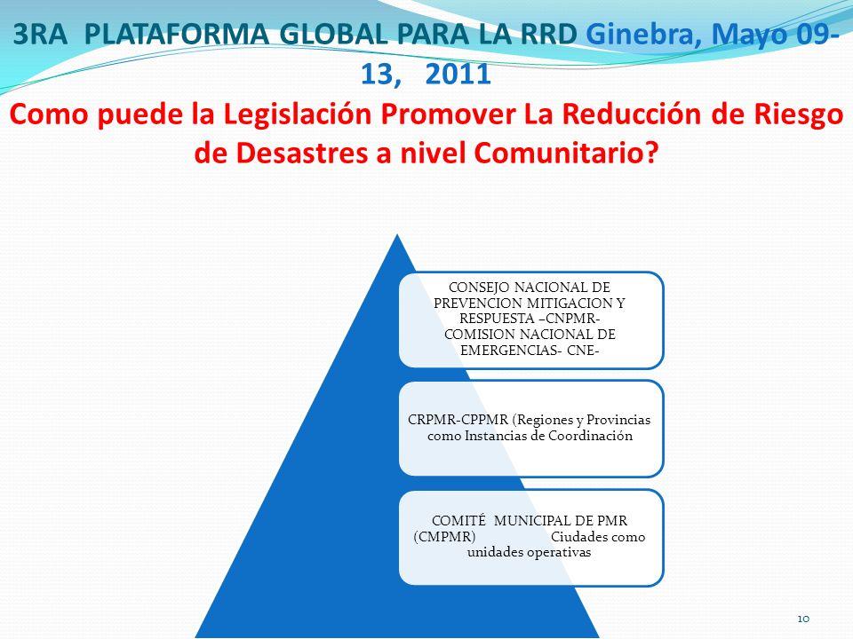 3RA PLATAFORMA GLOBAL PARA LA RRD Ginebra, Mayo 09- 13, 2011 Como puede la Legislación Promover La Reducción de Riesgo de Desastres a nivel Comunitario.